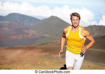 スプリント, ランナー, 運動選手, -, 速い, 動くこと, 人