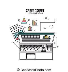 スプレッドシート, デザイン, ビジネス, そして, infographic, 概念,