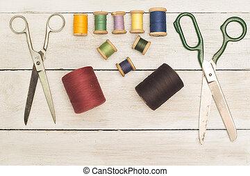 スプール, カラードの背景, 糸, 裁縫, 型, tools;, はさみ