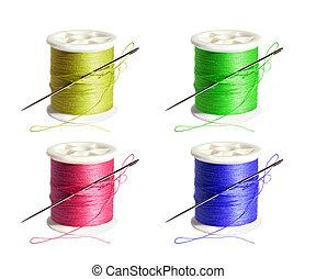 スプール, 白, 針, 背景, 糸