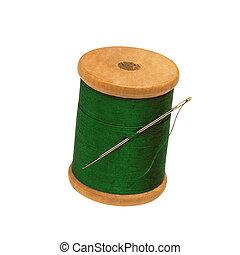 スプール, 針, 隔離された, 糸