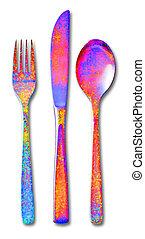 スプーン, セット, フォーク, ナイフ, cutlery