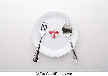 スプーン, フォーク, 食事である, 白い版, 補足