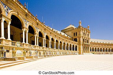スペイン語, 広場, (plaza, de, espana), seville, andalusia, スペイン