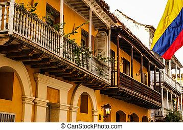 スペイン語, 植民地, house., cartagena, de, indias, colombia's, カリブ海,...