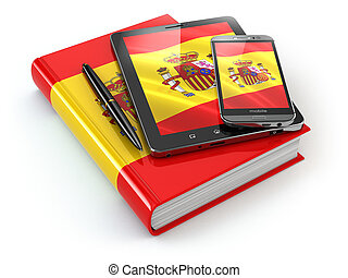 スペイン語, learning., モビール, 装置, smartphone, タブレットの pc, そして, 本