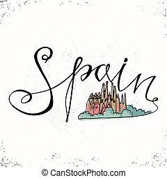スペイン, 手, レタリング, そして, 教会, 神聖, 家族, 中に, barcelona., ベクトル, illustration., ∥, 手, 引かれる, letters., レタリング, そして, 印刷である, design., ベクトル, 要素を設計しなさい