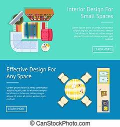 スペース, イラスト, 内部, ベクトル, 小さい, デザイン