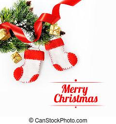 スペース, テキスト, 木, ブーツ, 背景, クリスマス