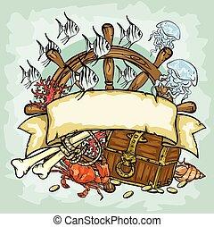 スペース, テキスト, 海賊, ベクトル, イラスト, ロゴ, デザイン