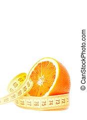 スペース, テキスト, 測定, テープ, 半分, オレンジ