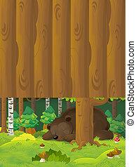 スペース, テキスト, -, 現場, 熊, 睡眠, イラスト, 漫画, 子供, 森林