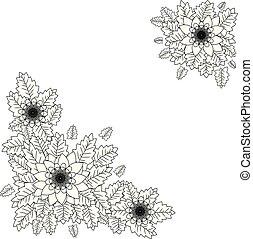 スペース, テキスト, 色, 黒い背景, 花, 白