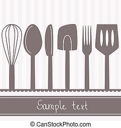 スペース, テキスト, cutlery, イラスト, 道具, 台所
