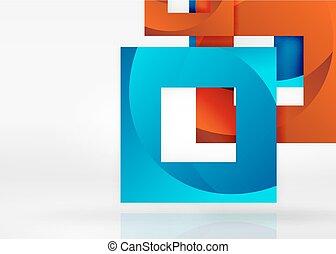 スペース, ライト, 灰色, 形, 幾何学的, 正方形, 3d