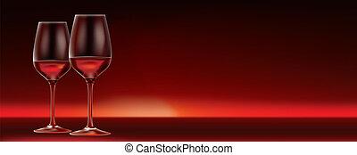 スペース, ロット, 2, ベクトル, コピー, 旗, 赤ワイン