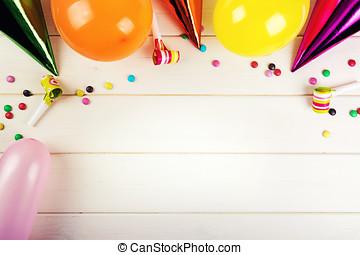 スペース, 付属品, birthday, 木, 背景, パーティー, 白, コピー