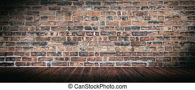 スペース, 壁, 型, 床, room., パノラマである, 木, 背景, れんが, コピー, 空, 手ざわり