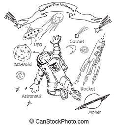 スペース, 宇宙飛行士, スケッチ