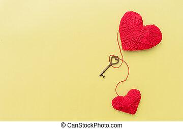 スペース, 幸せ, 2, コピー, 愛, キー, 愛, セット, 作られた, 小さい, 心, hearts., craft., はねるように駆けなさい, 1(人・つ), 赤い糸, key., day., 装飾用である, lovers., emotion., バレンタイン, 心, 認識, 概念