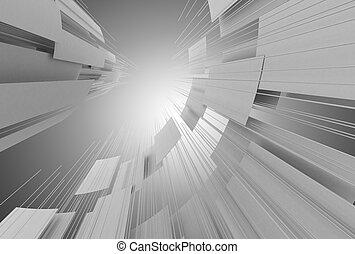 スペース, 抽象的, イラスト, バックグラウンド。, 建設, 3d