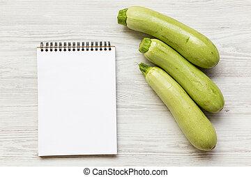 スペース, 木製である, text., 上, 白, メモ用紙, 背景, ブランク, 野菜, 新たに, ビュー。, 髄, ズッキーニ