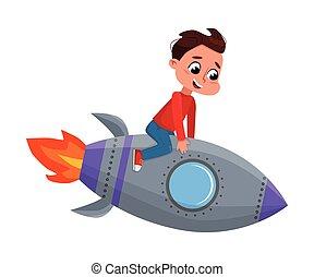 スペース, 漫画, おもちゃ, かわいい, 幸せ, 男の子, スタイル, わずかしか, 宇宙飛行士, 遊び, ロケット, イラスト, 乗馬, ベクトル, 宇宙飛行士