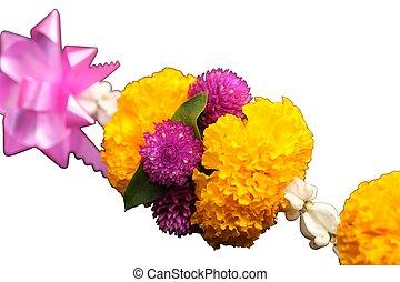 スペース, 白, 花輪, 置かれた, 背景, テキスト, 花