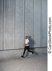 スペース, 背景, 男ラニング, 都市, 壁, コンクリート