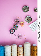 スペース, 裁縫, コピー, 背景, 道具, ピンク