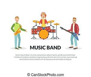 スペース, 道具, 実行, テキスト, バンド, ベクトル, 音楽, イラスト, テンプレート, 音楽家, 旗, ミュージカル