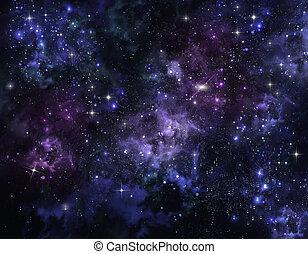 スペース, 開いた, 空, 星が多い