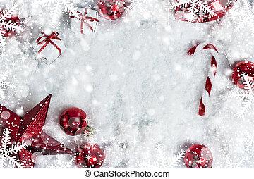 スペース, 雪, 装飾, 背景, コピー, クリスマス