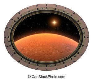 スペース, planet., 駅, 赤, porthole., 未来派, 光景
