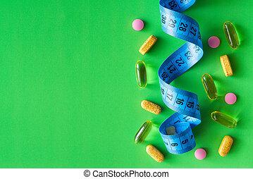 スペース, text., テープ, 背景, 緑, センチメートル, 丸薬