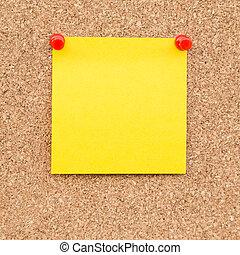 スペース, text., 黄色い粘着性があるノート, ブランク