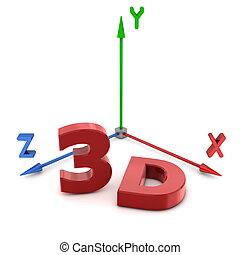 スペース, xyz, システム, 座標, 赤, 3d