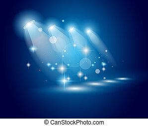 スポットライト, 劇場, ショー, ライト, 星, ans