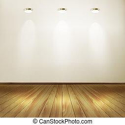 スポットライト, 壁, concept., floor., 木製である, ベクトル, ショールーム, illustration.