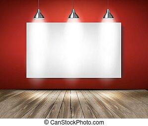 スポットライト, 木製である, floor., vector., 赤, 部屋