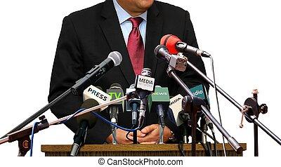 スポークスマン, 答えている質問, の間, 出版物, conferance