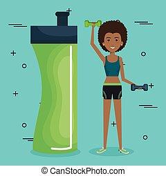 スポーツの女性, 持ち上がること, 重量, アイコン
