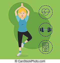 スポーツの女性, 練習する, exercice, アイコン