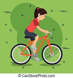 スポーツの女性, 自転車, アイコン