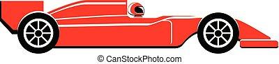スポーツカー, ベクトル, 赤, アイコン