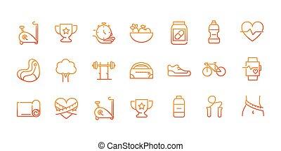 スポーツ, アイコン, 勾配, フィットネス, 線, ジム, セット