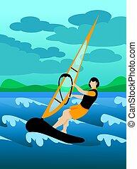 スポーツ, カラフルである, ウィンドサーフィン, 背景, 極点