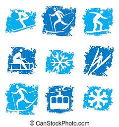 スポーツ, グランジ, 冬, アイコン