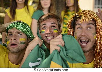 スポーツ, グループ, ファン, ブラジル人, 驚いている, サッカー