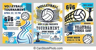 スポーツ, ゲーム, 夏, トーナメント, バレーボール, キャンプ